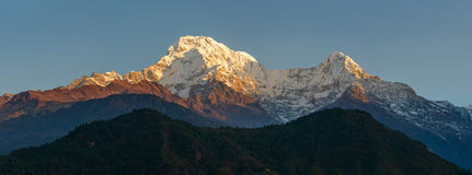 Annapurnas at sunrise panoramic view, Nepal Stock Image