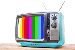 Annata blu TV sulla tavola di legno Fotografie Stock Libere da Diritti