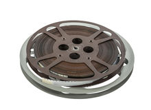 Annata bobine di film da 16 millimetri isolate su bianco Fotografie Stock