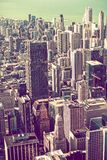 Annata che classifica l'orizzonte di Chicago Immagini Stock Libere da Diritti