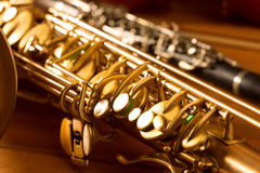 Annata classica del sassofono tenore e del clarinetto del sax di musica Immagine Stock