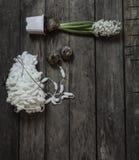 Annata con con il filo e giacinto sui vecchi precedenti di legno Fotografia Stock Libera da Diritti
