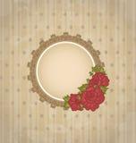 Annata con il medaglione ed i fiori floreali illustrazione di stock