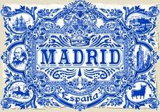 Annata 2D di Madrid Azulejos 01 illustrazione di stock