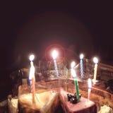 Annata del chiarore della luce della candela di compleanno fotografia stock
