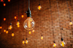 Annata del filamento della lampadina retro Fotografia Stock Libera da Diritti
