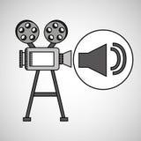 Annata del film della macchina fotografica con l'icona del volume di film Fotografia Stock Libera da Diritti