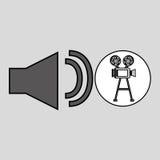 Annata del film della macchina fotografica con l'icona del volume di film Fotografia Stock