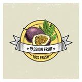 Annata del frutto della passione o di maracuja, agrume vegetariano ed organico disegnato a mano del fondo di frutta fresca, delle illustrazione di stock