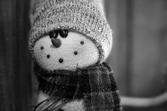 Annata del pupazzo di neve in bianco e nero Fotografie Stock