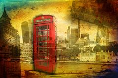 Annata dell'illustrazione di progettazione di arte di Londra retro Fotografie Stock Libere da Diritti