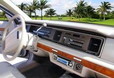 Annata dell'interno dell'automobile retro nel terreno da golf caraibico Fotografia Stock Libera da Diritti