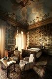 Annata della camera da letto XIX secolo della stanza immagini stock libere da diritti