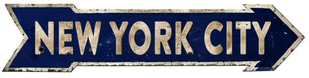 Annata della freccia di New York Streetsign fotografia stock
