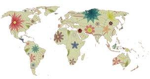 Annata 2 della mappa di mondo Fotografie Stock Libere da Diritti