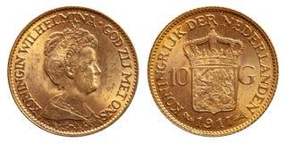 Annata 1917 della moneta di oro del fiorino olandese dei Paesi Bassi 10 fotografie stock
