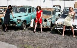 annata delle ragazze dell'automobile Fotografia Stock