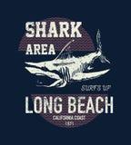 Annata dello squalo di progettazione della stampa della maglietta Fotografia Stock Libera da Diritti