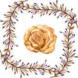 Annata di gouache dell'acquerello la bella è aumentato con le foglie p senza cuciture illustrazione di stock