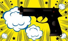 Annata di stile dei fumetti del modello dell'insegna del fondo dell'asta dell'arma di Pop art retro Immagine Stock