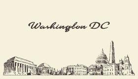 Annata di U.S.A. dell'orizzonte del Washington DC incisa disegnata immagine stock