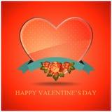 Annata di vetro dell'etichetta del cuore di vettore per il giorno di biglietti di S. Valentino Fotografie Stock Libere da Diritti