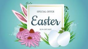 Annata di vettore, fondo realistico per Pasqua mascherina Orecchie di coniglio che attaccano dall'erba e dalla carta con il posto royalty illustrazione gratis