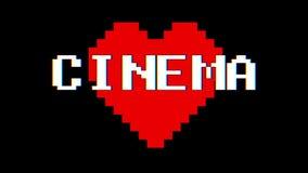 Annata dinamica del ciclo dello schermo di interferenza di impulso errato del testo di parola del CINEMA del cuore del pixel nuov stock footage
