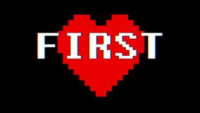 Annata dinamica del PRIMO di parola del cuore del pixel nuova retro del testo di impulso errato di interferenza dello schermo del video d archivio