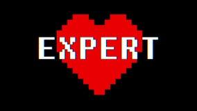 Annata dinamica di parola del cuore del pixel nuova retro del testo di impulso errato di interferenza dello schermo del ciclo del archivi video