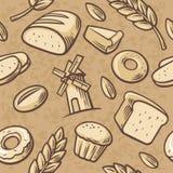 Annata disegnata a mano del modello senza cuciture per il forno Pane, grano, grano, ciambella, mulino del dolce e cucinare Fissi  Immagine Stock