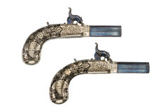 Annata ed originale delle pistole di percusion di paia vecchia Immagini Stock