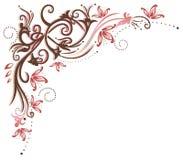 Annata, fiori, confine Fotografia Stock