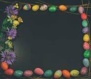 Annata incorniciata del quadrato dello spazio della copia dell'uovo di Pasqua Fotografie Stock Libere da Diritti