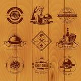 Annata Logo Set del BBQ Immagini Stock