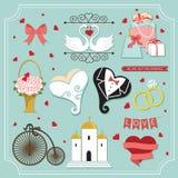Annata messa per l'invito di nozze Elementi svegli di disegno Fotografia Stock