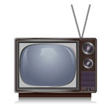 Annata realistica TV isolata su bianco, retro Fotografie Stock Libere da Diritti