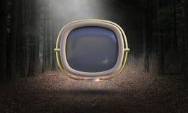 Annata surreale TV, televisione, retro, natura illustrazione di stock