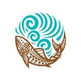 Annata tribale dell'illustrazione dell'onda del pesce Fotografia Stock