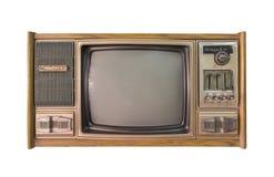 Annata TV o televisione isolata su fondo bianco Fotografia Stock Libera da Diritti