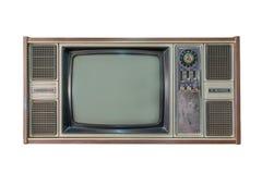 Annata TV o televisione isolata su fondo bianco Fotografia Stock