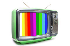 Annata verde TV su fondo bianco Fotografie Stock