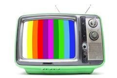 Annata verde TV su fondo bianco Immagini Stock