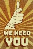 Annata vi abbiamo bisogno manifesto Fotografia Stock Libera da Diritti
