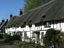 Anne Boleyns Cottages, Wendover. A run of thatched and half-timbered cottages in Wendover, Bucks, which once belonged to Anne Boleyn Royalty Free Stock Photo