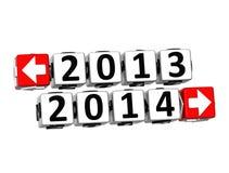année 3D 2013 texte de bloc de cliquez ici de bouton de l'an 2014 Photo libre de droits