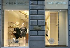 Anne Fontaine luxury fashion store in Italy. The Anne Fontaine clothing brand is most famously known for its innovative spin on the classic white shirt. Anne Royalty Free Stock Images
