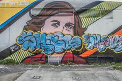 Anne Frank Mural Outside Artwork Vandalized em Amsterdão o 2018 holandês fotos de stock royalty free