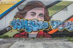 Anne Frank Mural Outside Artwork Vandalized en Amsterdam el 2018 holandés fotos de archivo libres de regalías