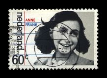 Anne Frank, 35th anniversary of liberation from the Germans, Netherlands , circa 1980,. NETHERLANDS - CIRCA 1980: canceled postal stamp printed in the stock images